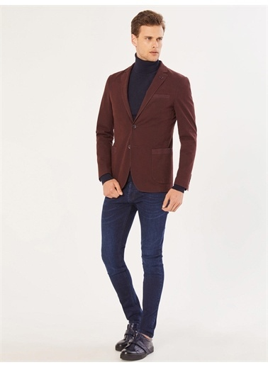 Xint XINT Tek Yırtmaç Pamuklu Slim Fit Ceket Bordo